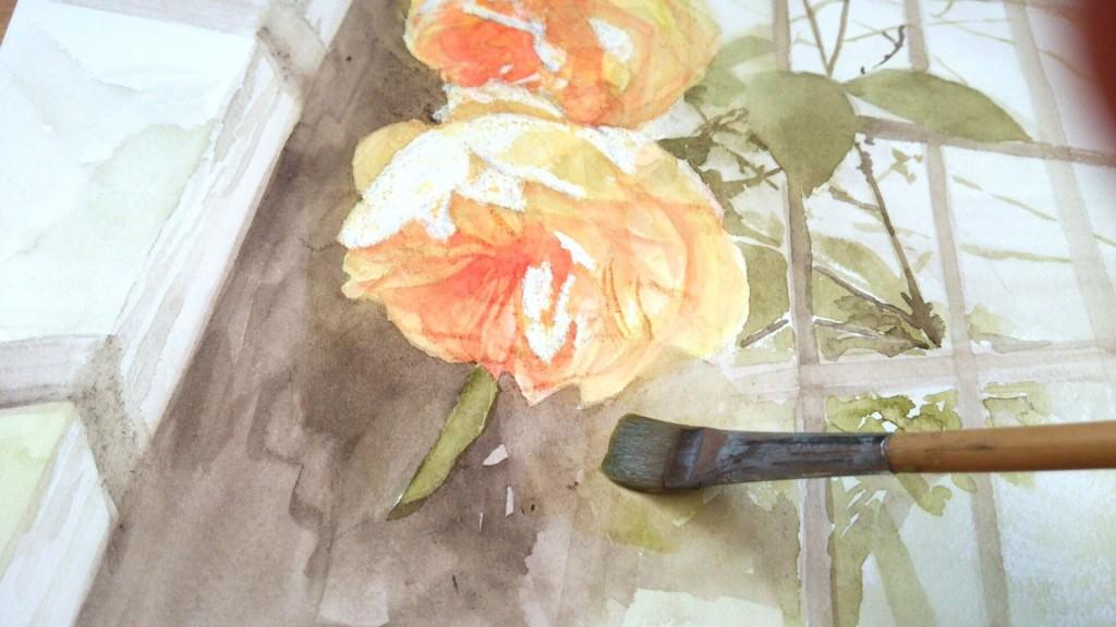 バラ水彩画、グラハムトーマス